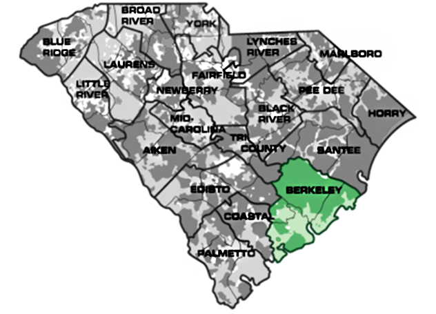 Map of South Carolina with Berkeley service area highlighted