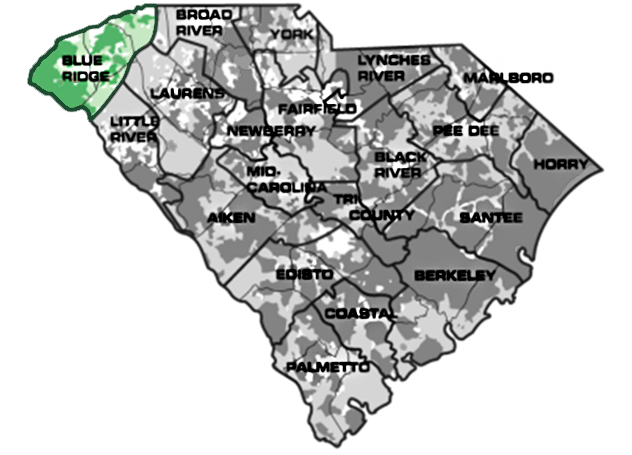 Map of South Carolina with Blue Ridge service area highlighted