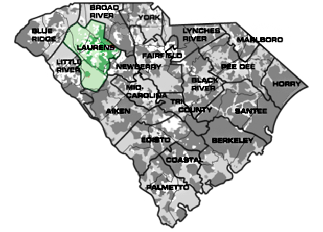 Map of South Carolina with Laurens service area highlighted
