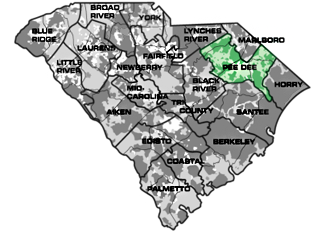 Map of South Carolina with Pee Dee service area highlighted